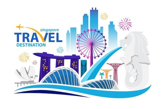 Ilustracja panoramę miasta singapur