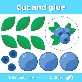 Ilustracja. papierowa gra edukacyjna dla dzieci w wieku przedszkolnym. użyj nożyczek i kleju, aby stworzyć obraz.
