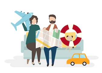 Ilustracja para charaktery z podróżnym pojęciem