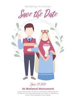 Ilustracja para muzułmanów na zaproszenie na ślub w niebieskie ubrania