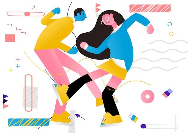 Ilustracja para tańczy