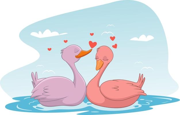 Ilustracja para zakochanych gęsi