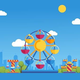 Ilustracja park rozrywki. karuzele w wesołym miasteczku w słoneczny dzień w parku miejskim. zabawa dla rodzin z dziećmi na wakacjach, plac zabaw dla dzieci