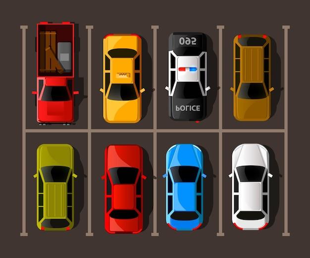 Ilustracja parking miejski. wiele samochodów na zatłoczonym parkingu.