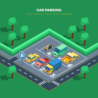 Ilustracja parking samochodowy