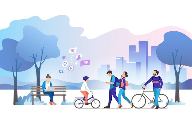 Ilustracja parku miejskiego