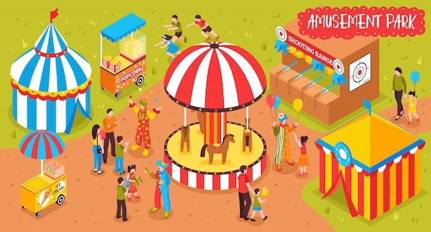 Ilustracja parku rozrywki rodzinnej