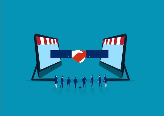 Ilustracja partnerstwa biznesowego i pracy zespołowej.