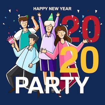 Ilustracja party szczęśliwego nowego roku 2020