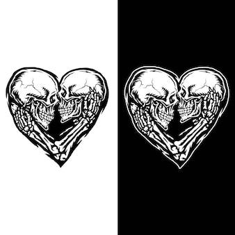 Ilustracja pary czaszki, odizolowane na ciemnym i jasnym tle