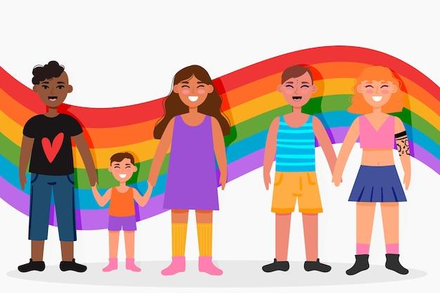 Ilustracja pary i rodziny świętuje paczkę dnia dumy