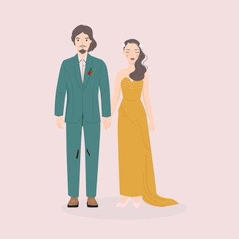 Ilustracja pary młodej i pana młodego na ślub