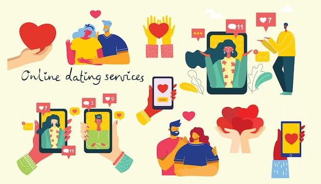 Ilustracja pary posiadającej romans online