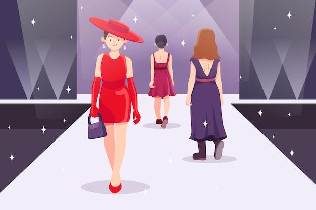 Ilustracja pas startowy pokazu mody płaskiej