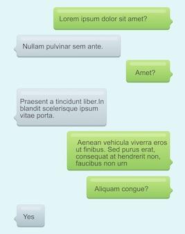 Ilustracja pęcherzyków czatu telefonu. wiadomości sms z tekstem na jasnoniebieskim tle. dymki. usługa wiadomości, koncepcja czatu w stylu cartoon płaski.