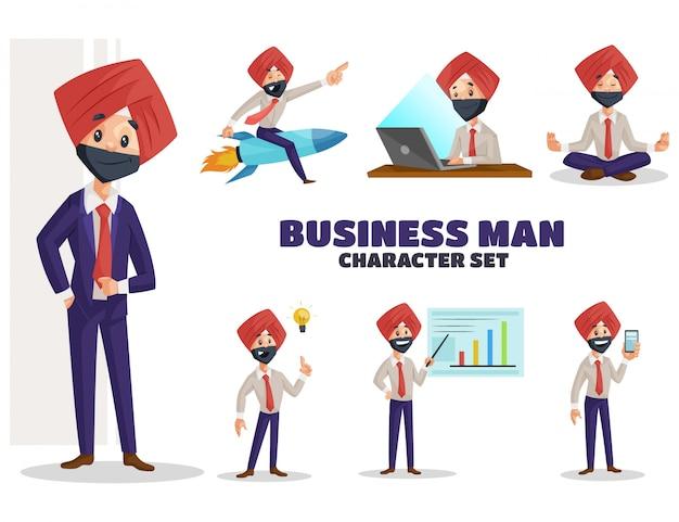 Ilustracja pendżabski biznesmen zestaw znaków