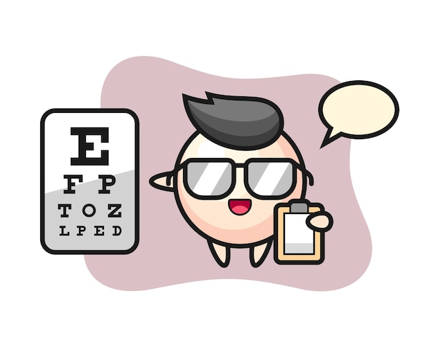 Ilustracja perła maskotka jako okulistyka