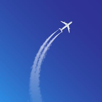 Ilustracja pętli samolotu i toru łuku lub szlaków z białym dymem