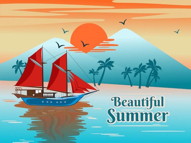 Ilustracja phinisi żeglowanie statek na pięknej plaży w lecie