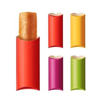 Ilustracja pieczonego pasty lub smażonego pasztecika w pudełku z czerwonym, żółtym, szkarłatnym i zielonym prostokątnym pustym pudełkiem kartonowym. na białym tle