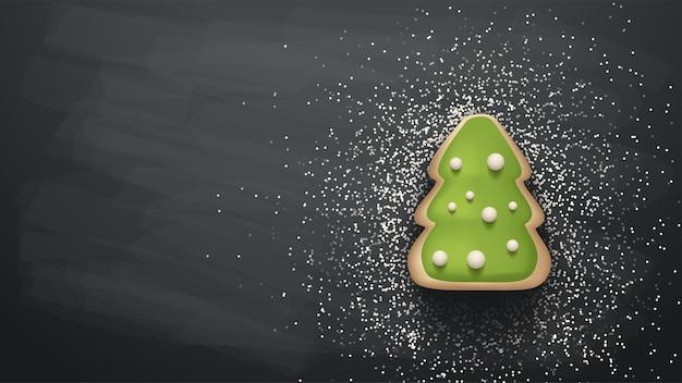 Ilustracja piekarni choinki z mąki na ciemnoszarym tle