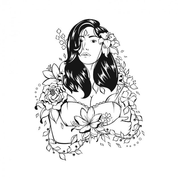 Ilustracja piękna dziewczyna z kwiecistym