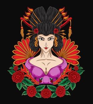 Ilustracja piękna gejsza kobieta z ornamentem z kwiatów róży