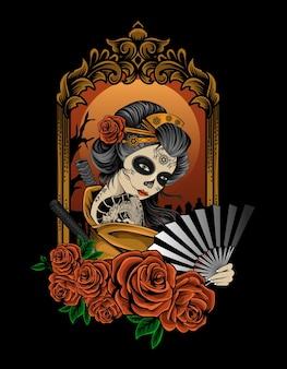 Ilustracja piękna kobieta gejsza z ornamentem kwiat róży
