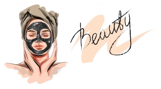 Ilustracja. piękna kobieta z maseczka na twarz. przemysł kosmetyczny i pielęgnacyjny.