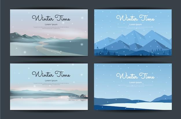 Ilustracja piękna koncepcja zimowy krajobraz.