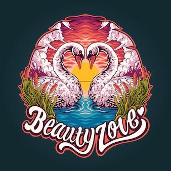 Ilustracja piękna łabędź w miłości