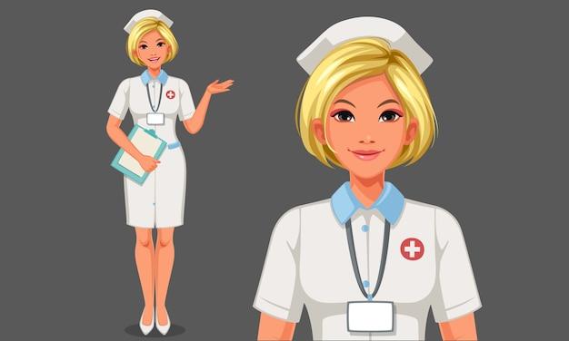 Ilustracja piękna młoda pielęgniarka