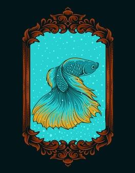 Ilustracja piękna ryba betta na vintage akwarium