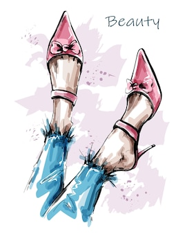 Ilustracja piękne kobiece nogi