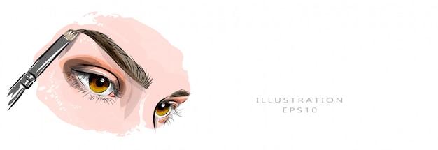 Ilustracja. piękne kobiece oczy i brwi. mistrz brwi. zabarwienie i korekcja brwi. przemysł kosmetyczny i pielęgnacyjny. nadaje się do drukowania i drukowania na tkaninie.
