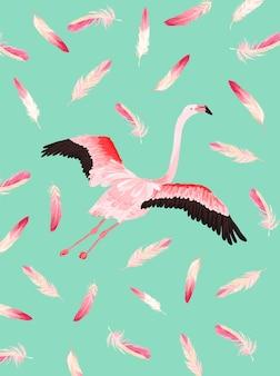 Ilustracja pięknego flaminga z miejscem na imię dziecka na plakat, pozdrowienia dla dzieci, zaproszenie, ulotka sklepowa dla dzieci, broszura, okładka książki w wektorze