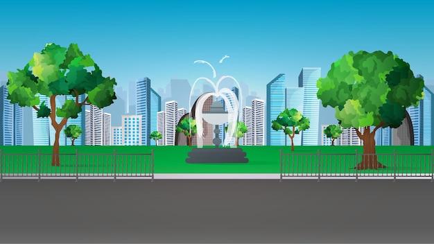 Ilustracja pięknego letniego parku miejskiego