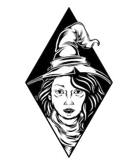 Ilustracja pięknej czarownicy z czarnej ramki dla inspiracji tatuażem