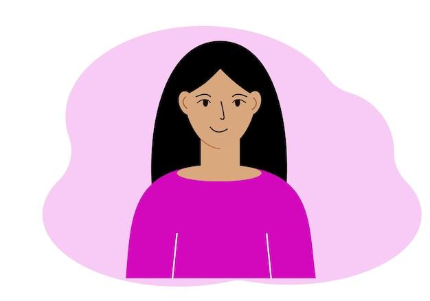 Ilustracja pięknej kobiety z bujnymi włosami