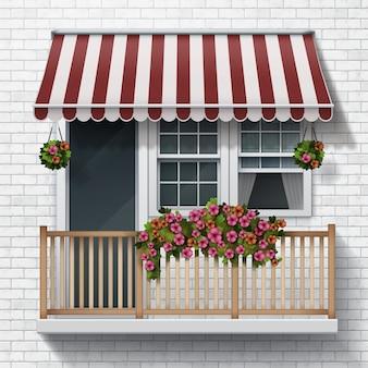 Ilustracja piękny balkon z kwiatami tło ściany z cegły realistyczny styl