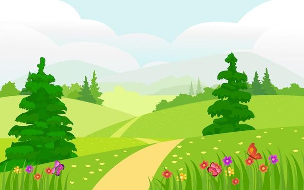 Ilustracja piękny letni krajobraz. wiosna krajobraz kwiaty i drzewa