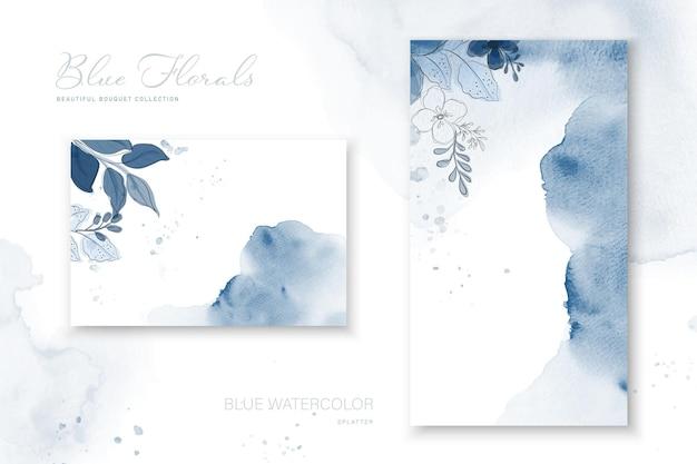 Ilustracja piękny niebieski bukiet zaprojektowany na powierzchni plam akwarela