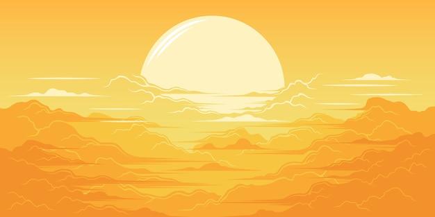 Ilustracja piękny wschód słońca