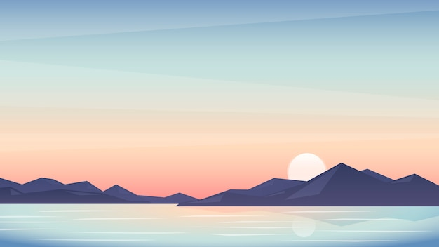 Ilustracja piękny zachód słońca, krajobraz z górami