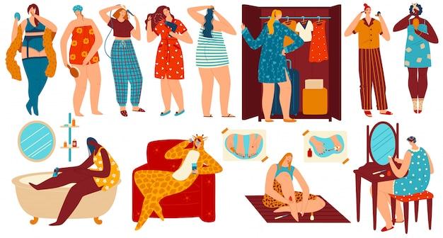 Ilustracja pielęgnacji ciała i urody, piękna dziewczyna kreskówka robi pielęgnacji skóry, procedur usuwania włosów, fryzury lub rutynowego makijażu