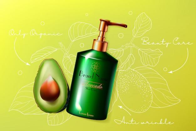 Ilustracja pielęgnacji skóry kosmetyki awokado. produkt do pielęgnacji skóry twarzy lub ciała w butelce z dozownikiem, wycięty na pół owoc awokado, eko przeciwzmarszczkowy naturalny kosmetyk opieki zdrowotnej tło