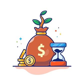 Ilustracja pieniądze czasu. klepsydra, worek pieniędzy i stos monet, biznes koncepcja biały na białym tle