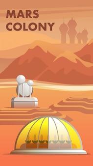 Ilustracja pierwsi osadnicy mars colony astronauta
