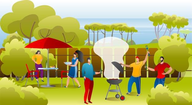 Ilustracja piknik grillowy