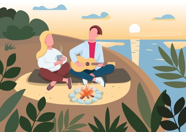 Ilustracja piknik płaski kolor plaży